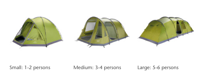 Types of tents available